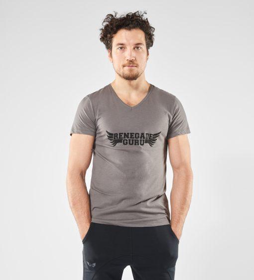 Grijze heren Yoga t-shirt Moksha met print