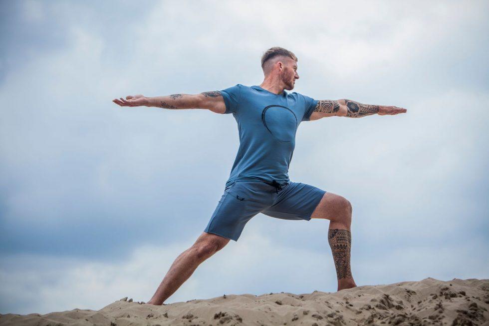Men's Yoga Tee Moksha and Men's Yoga Shorts Bodhi - Green Earth
